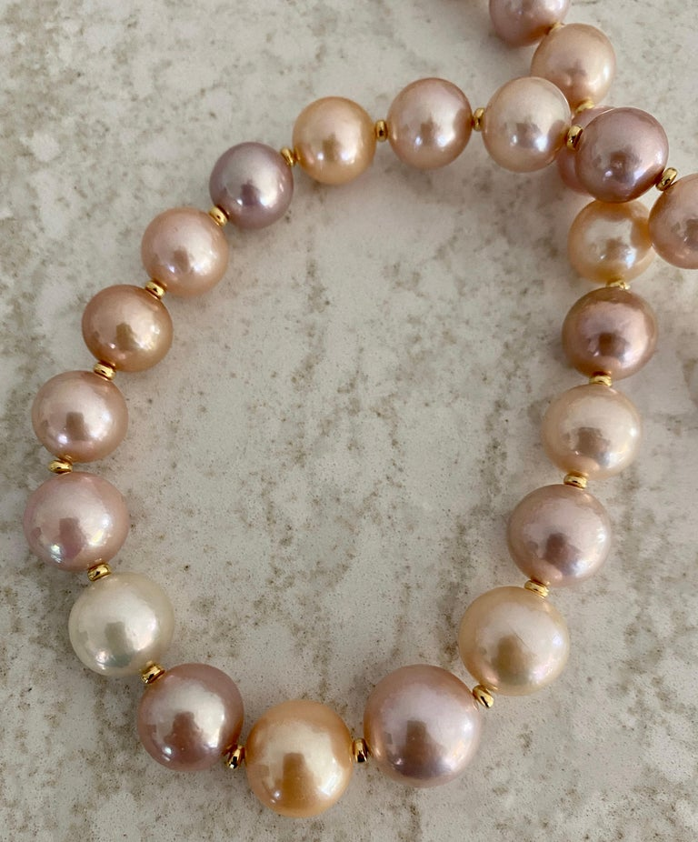 Contemporary Michael Kneebone Pastel Colored Pearl Necklace For Sale