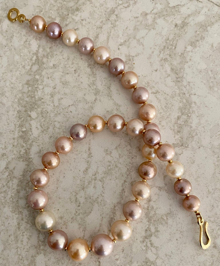 Round Cut Michael Kneebone Pastel Colored Pearl Necklace For Sale