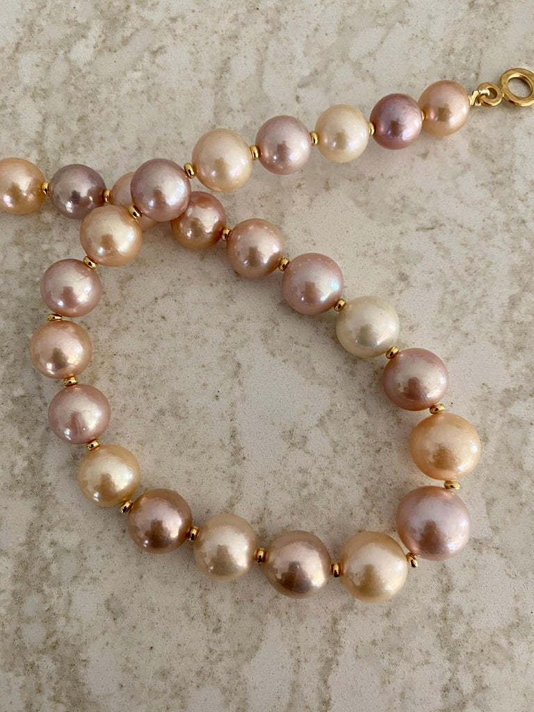 Michael Kneebone Pastel Colored Pearl Necklace In New Condition For Sale In Austin, TX