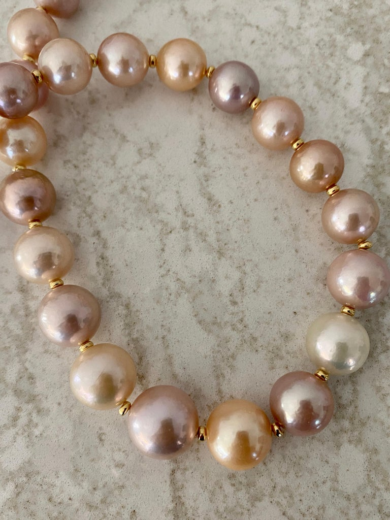 Michael Kneebone Pastel Colored Pearl Necklace For Sale 1