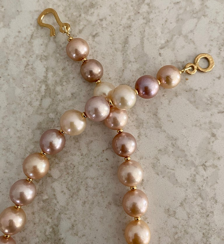 Michael Kneebone Pastel Colored Pearl Necklace For Sale 2