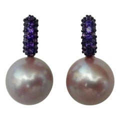 Michael Kneebone Pave Amethyst Lavender South Seas Pearl Drop Earrings
