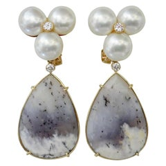 Michael Kneebone Pearl Cluster Diamond Dendritic Opal Dangle Earrings