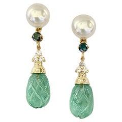 Michael Kneebone Pearl Montana Sapphire Diamond Apatite Dangle Earrings
