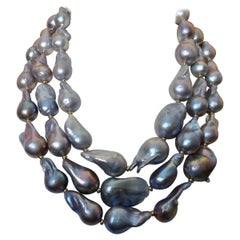 Michael Kneebone Pearl Necklace Tahitian Pearl Dangle Earring Suite