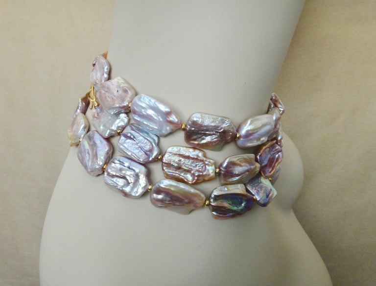 Michael Kneebone Pink Baroque Tile Pearl Necklace In Excellent Condition For Sale In Rancho Mirage, CA