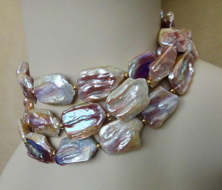 Women's Michael Kneebone Pink Baroque Tile Pearl Necklace For Sale