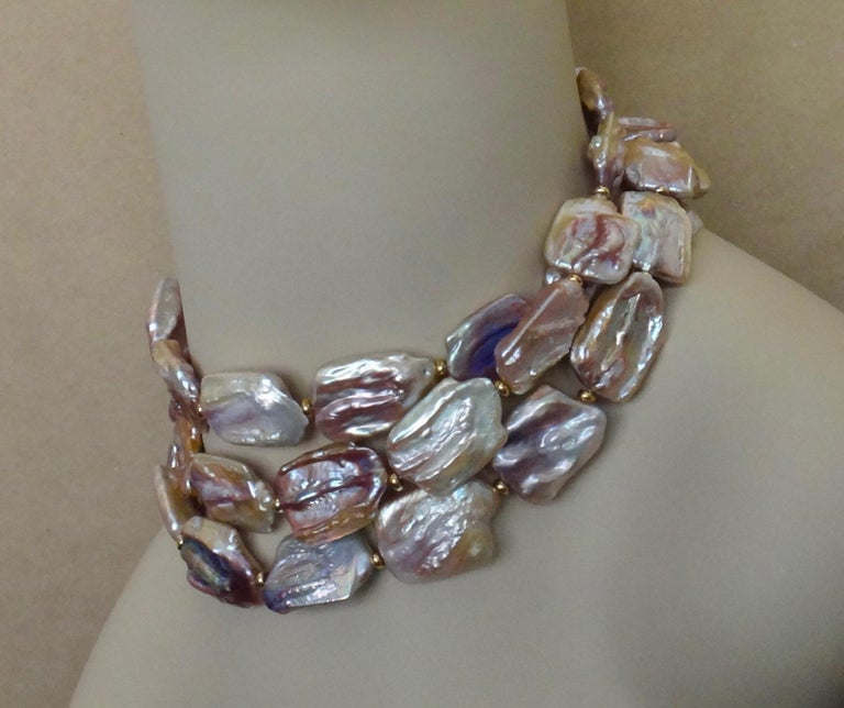 Michael Kneebone Pink Baroque Tile Pearl Necklace For Sale 3