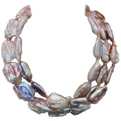 Michael Kneebone Pink Baroque Tile Pearl Necklace