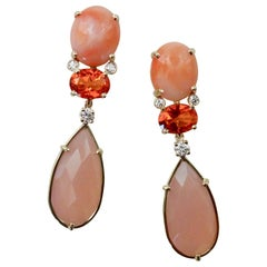 Michael Kneebone Pink Coral Fire Opal Pink Opal Diamond Dangle Earrings