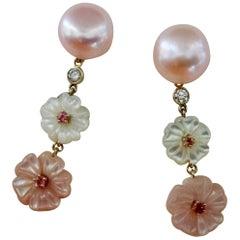 Michael Kneebone Pink Pearl, Tourmaline, Diamond, Mother of Pearl Flower Earring
