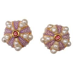 Michael Kneebone Pink Sapphire Akoya Pearl Sea Urchin Button Earrings