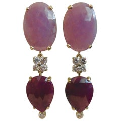 Michael Kneebone Pink Sapphire Ruby Slice White Diamond Dangle Earrings