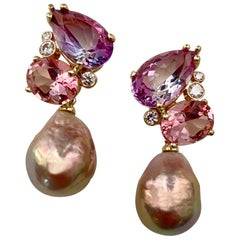 Michael Kneebone Pink Topaz Diamond Kasumi Pearl Dangle Earrings