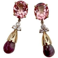 Michael Kneebone Pink Topaz Diamond Ruby in Quartz Briolette Dangle Earrings