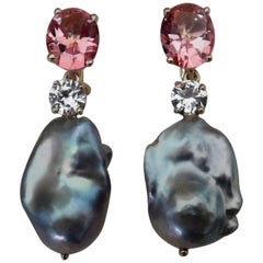 Michael Kneebone Pink Topaz Sapphire Baroque Gray Pearl Dangle Earrings