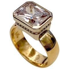 Michael Kneebone Radiant Cut White Sapphire Two-Tone 18 Karat Leah Ring