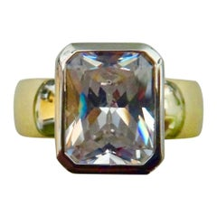 Michael Kneebone Radiant Cut White Sapphire Two-Tone 18 Karat Leah Ring