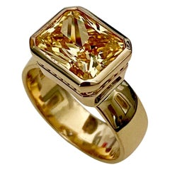 Michael Kneebone Radiant Cut Yellow Sapphire 18 Karat Gold Leah Ring
