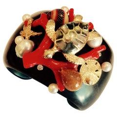 Michael Kneebone Red Branch Coral Pearl Shell Diamond Ebony Cuff Bracelet