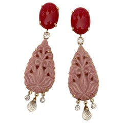 Michael Kneebone Red Coral Diamond Rock Crystal Rosaline Dangle Earrings