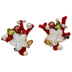 Michael Kneebone Red Coral Multi-Gemstone Diamond Sea Life Earrings