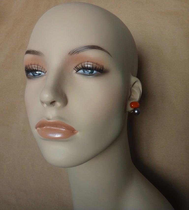 Michael Kneebone Red Coral Tahitian Pearl Stud Earrings For Sale 5