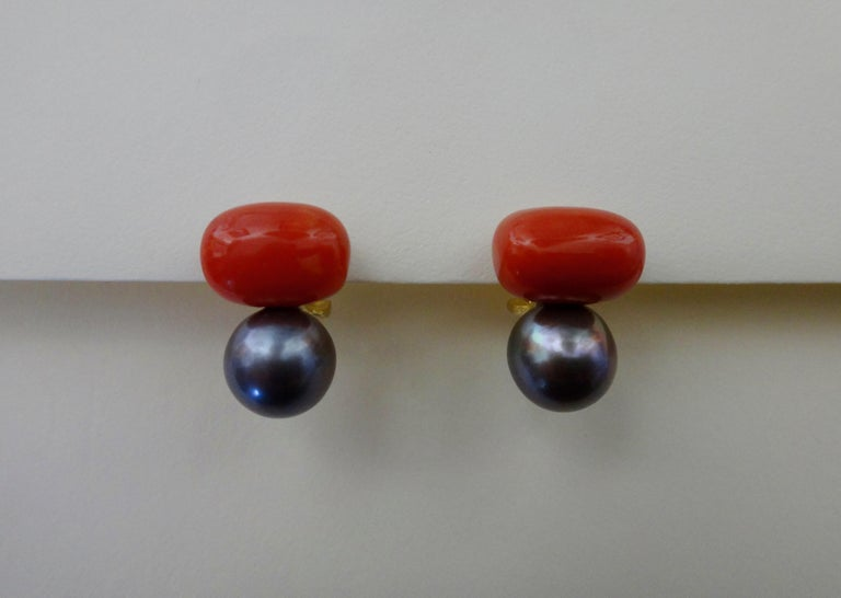Contemporary Michael Kneebone Red Coral Tahitian Pearl Stud Earrings For Sale