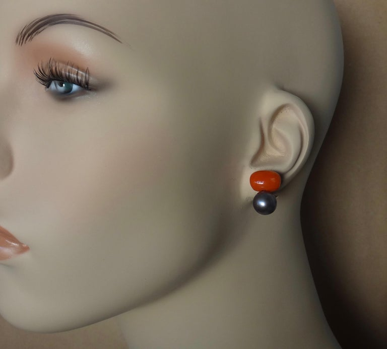 Michael Kneebone Red Coral Tahitian Pearl Stud Earrings In New Condition For Sale In Rancho Mirage, CA