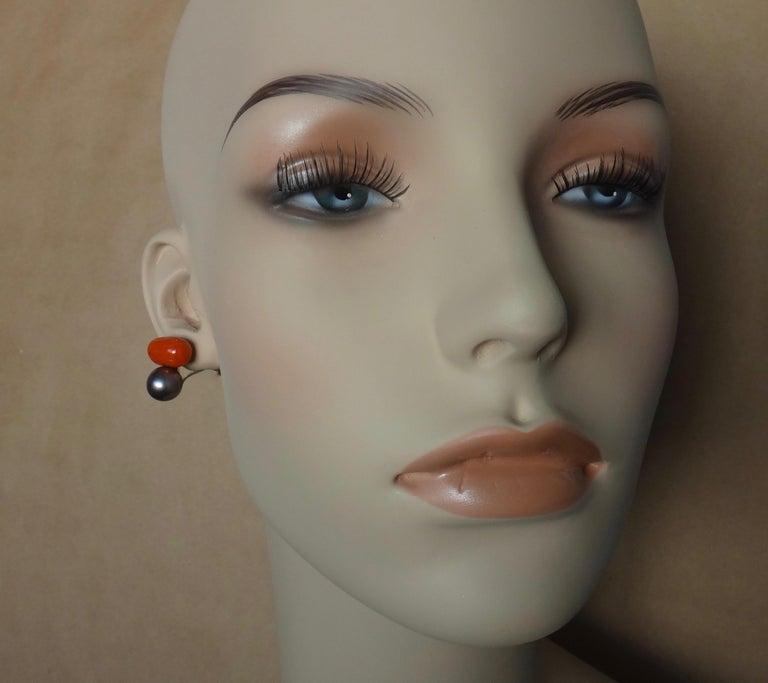 Michael Kneebone Red Coral Tahitian Pearl Stud Earrings For Sale 1