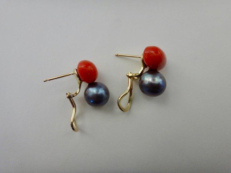 Michael Kneebone Red Coral Tahitian Pearl Stud Earrings For Sale 2