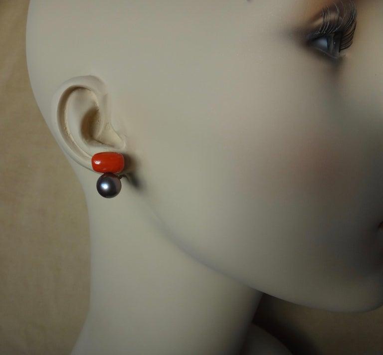 Michael Kneebone Red Coral Tahitian Pearl Stud Earrings For Sale 3