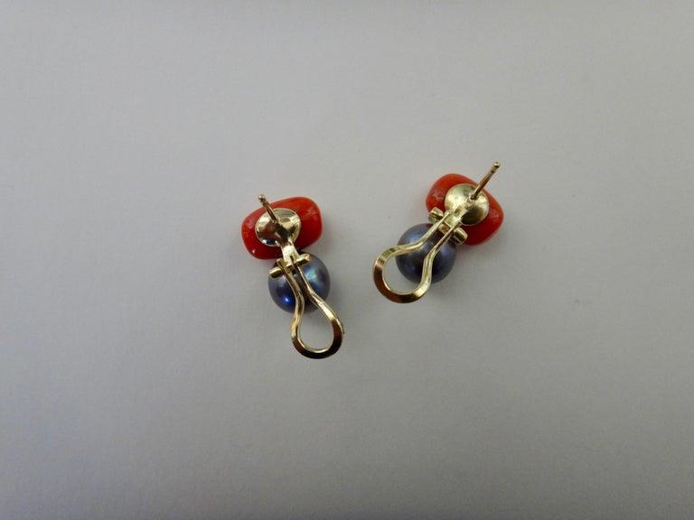 Michael Kneebone Red Coral Tahitian Pearl Stud Earrings For Sale 4