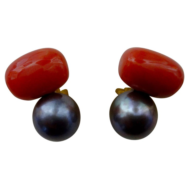 Michael Kneebone Red Coral Tahitian Pearl Stud Earrings For Sale