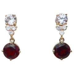 Michael Kneebone Rhodolite Garnet White Sapphire Diamond Dangle Earrings