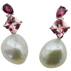 Michael Kneebone Rhodolite Tourmaline Diamond South Seas Pearl Drop Earrings