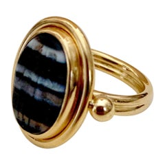 Michael Kneebone 18th Century Banded Agate Intaglio Pinkie Ring