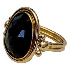 Michael Kneebone Rose Cut Black Spinel Archaic Style Ring