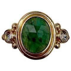 Michael Kneebone Rose Cut Emerald Rose Cut Diamond Archaic Style Cocktail Ring