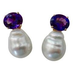 Michael Kneebone Royal Amethyst Baroque South Seas Pearl Drop Earrings