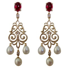 Michael Kneebone Rubelite Tourmaline Diamond Pearl Filigree Dangle Earrings
