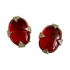 Michael Kneebone Rubellite Diamond Cabochon Gold Platinum Button Earrings