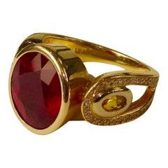 Michael Kneebone Ruby Yellow Sapphire Pave Diamond Ring