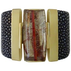 Michael Kneebone Rutilated Quartz Black Stringray Cuff Bracelet