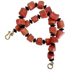 Michael Kneebone Salmon Branch Coral Black Onyx Nugget Necklace