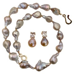 Michael Kneebone Sapphire Flame Ball Pearl Necklace Earring Suite