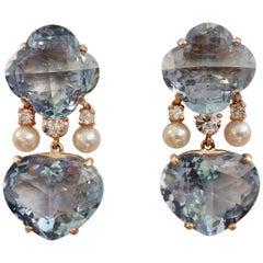 Michael Kneebone Sky Blue Topaz Akoya Pearl Diamond Dangle Earrings