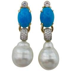 Michael Kneebone Sleeping Beauty Turquoise Diamond Baroque Pearl Earrings
