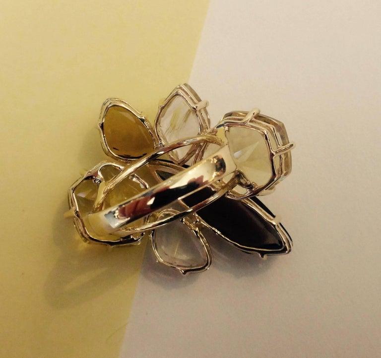 Contemporary Michael Kneebone Smokey Quartz Lemon Citrine Rutilated Quartz Gold Cluster Ring For Sale