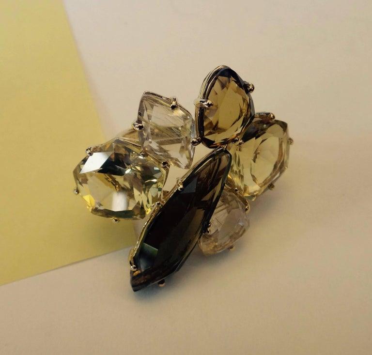 Michael Kneebone Smokey Quartz Lemon Citrine Rutilated Quartz Gold Cluster Ring In Excellent Condition For Sale In Rancho Mirage, CA